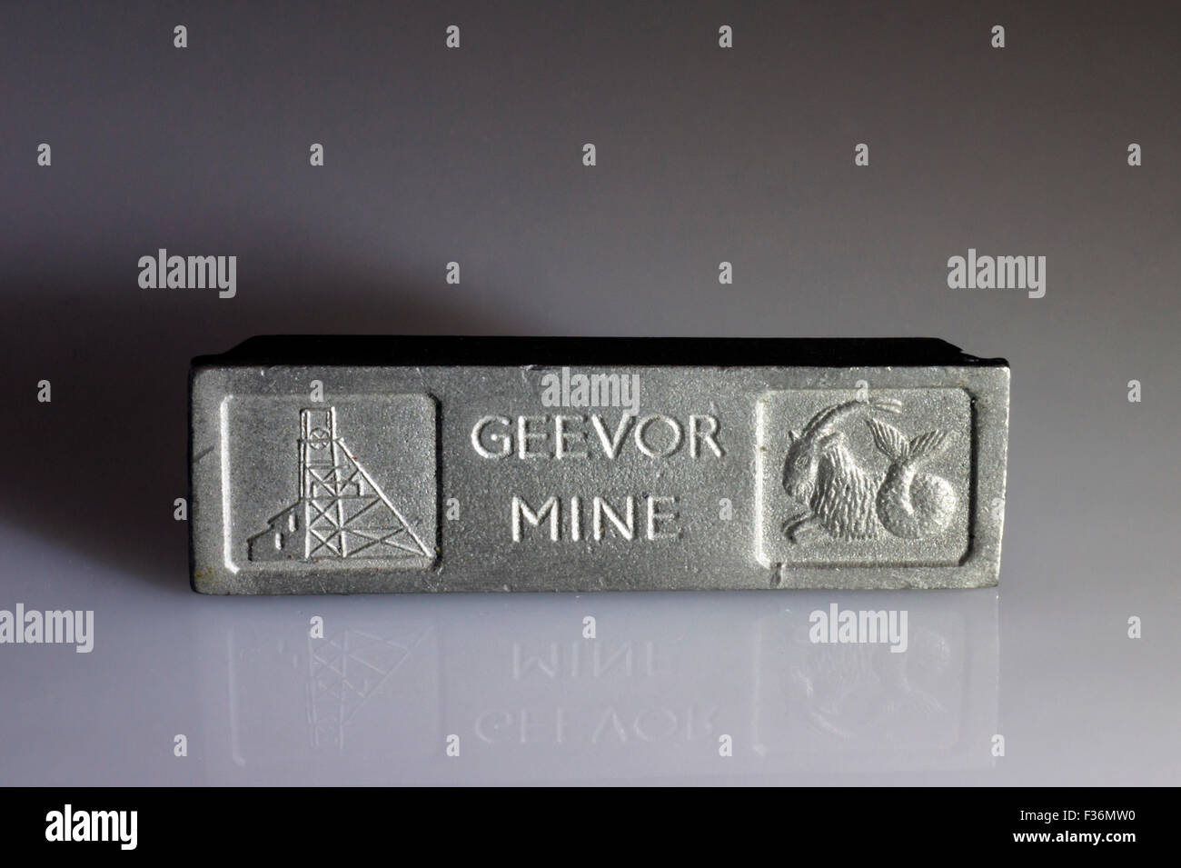 Cornish tin ingot from Geevor Mine Cornwall. Recovered from the wreck of the SS Cheerfull. - Stock Image
