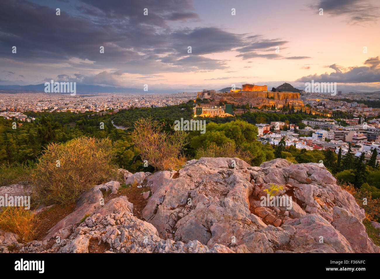Morning view of Acropolis from Filopappou hill in centre of Athens. Stock Photo