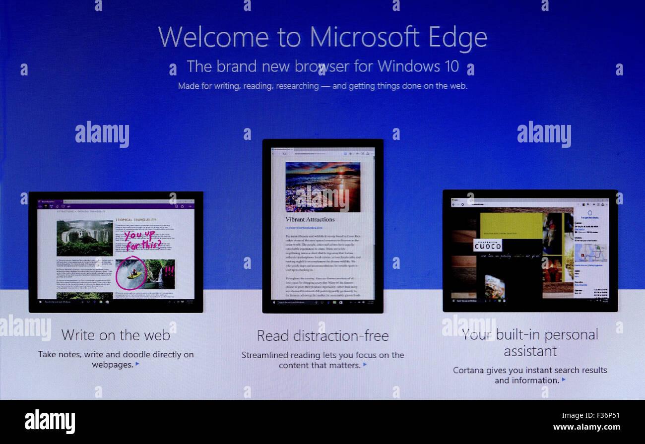 Microsoft Edge,Windows 10,OS,Latest Update,Upgrade,Computer,Technology,Electronics - Stock Image