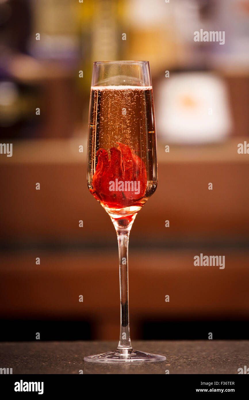 Bellini cocktail stock photos bellini cocktail stock images alamy bellini a champagne cocktail with hibiscus flower served on a bar top stock izmirmasajfo