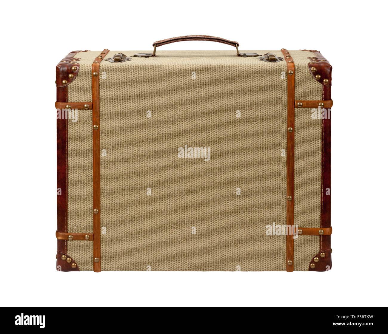 Deco Wood Burlap Suitcase - Stock Image