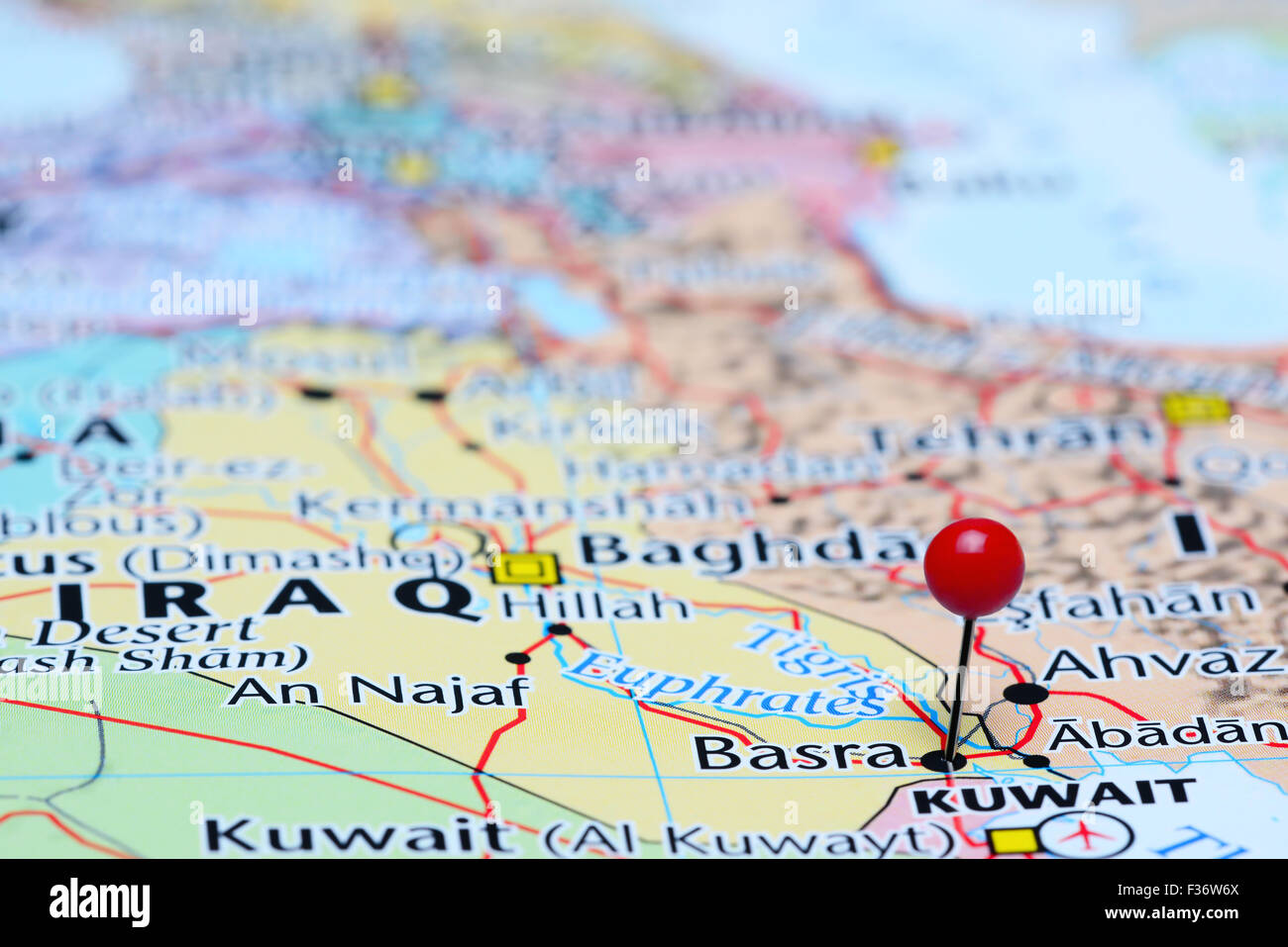 basra pinned on a map of asia stock image