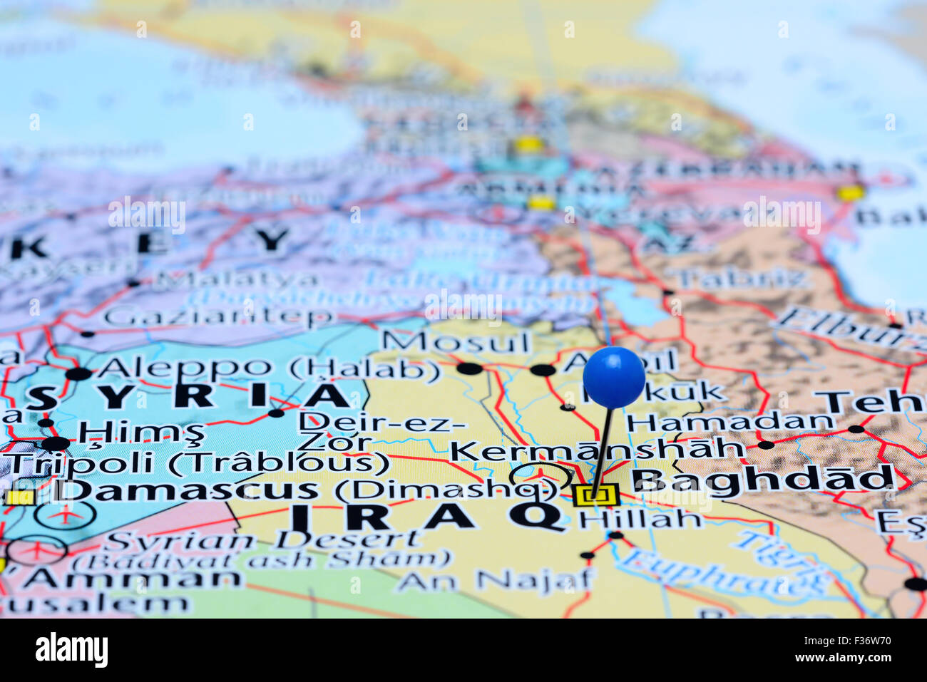 Baghdad pinned on a map of Asia Stock Photo: 88047316 - Alamy