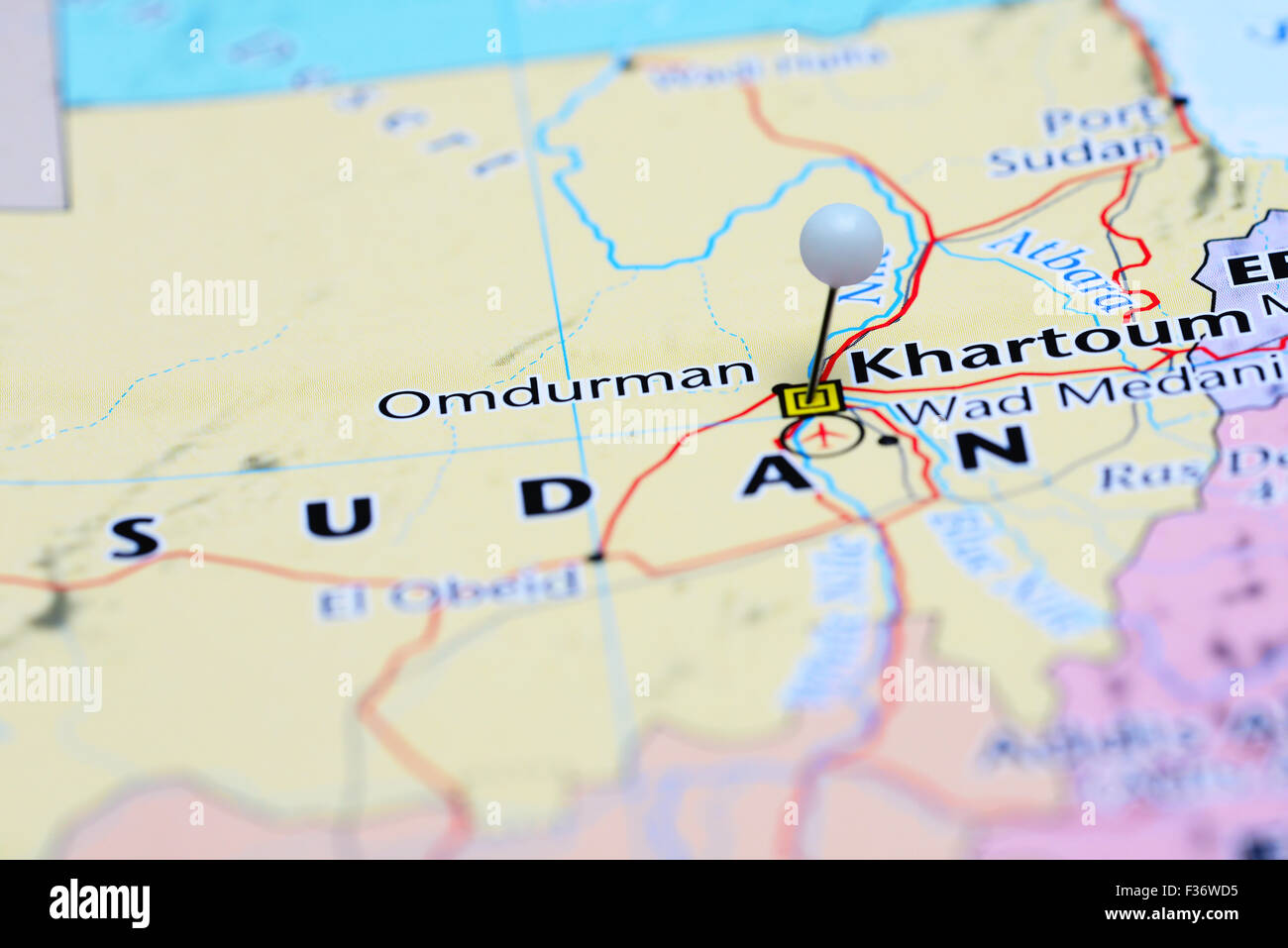 Khartoum Pinned On A Map Of Asia Stock Photo 88047489 Alamy