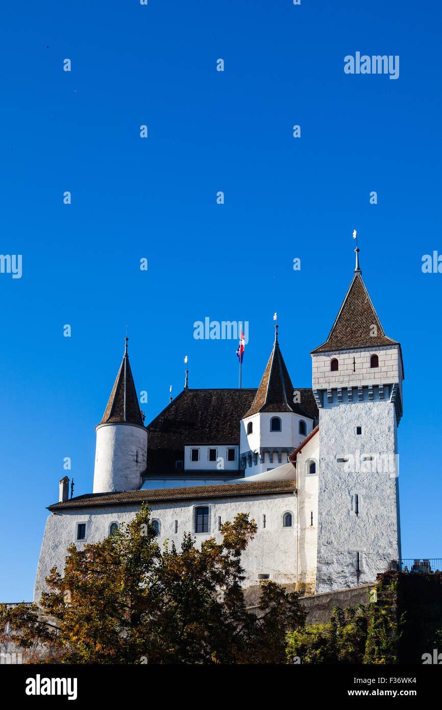Chateau of Nyon on the shore of Lake Geneva, Switzerland - Stock Image