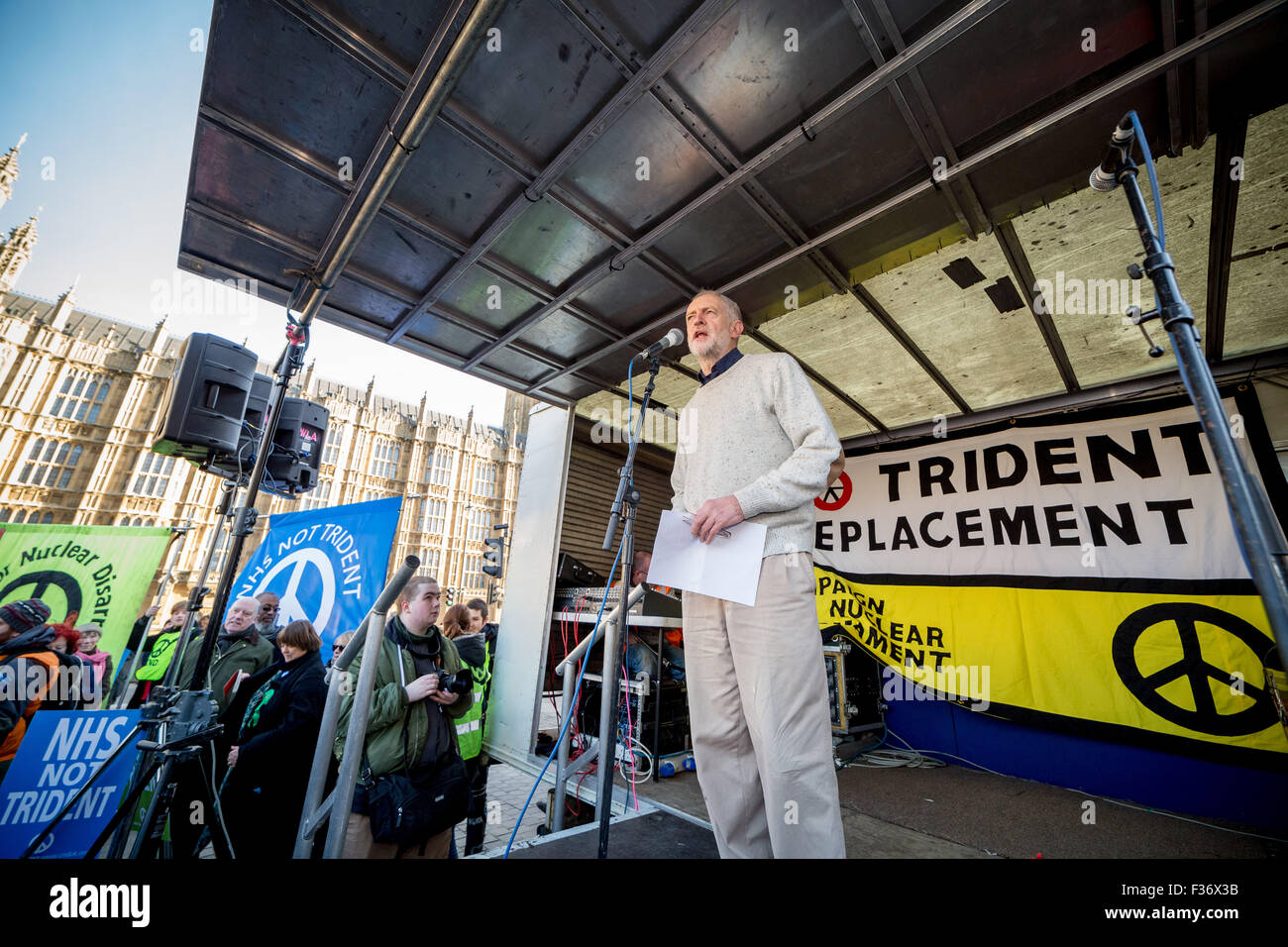 File Image: London, UK. 24th Jan, 2015. Jeremy Corbyn speaks at 'Wrap-Up Trident' CND Protest in Westminster Credit: - Stock Image