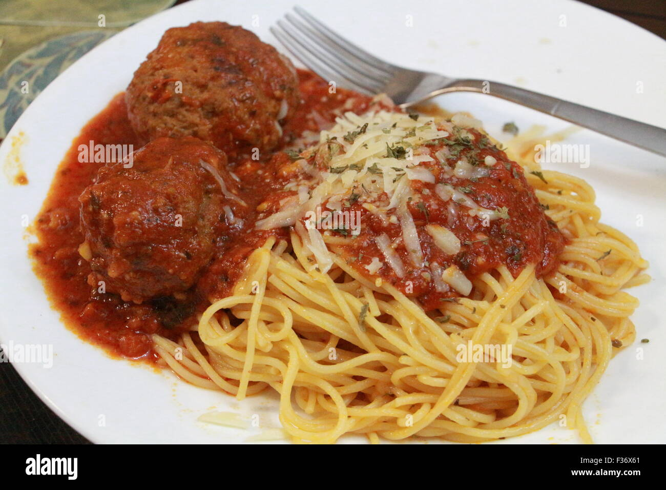 Spaghetti and meat balls - Stock Image