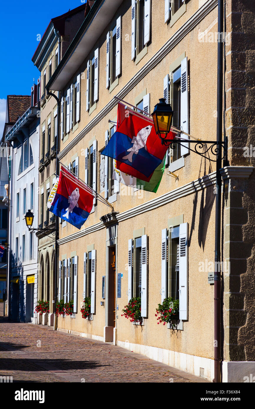 Local Government building in the main square of Nyon in Switzerland - Stock Image