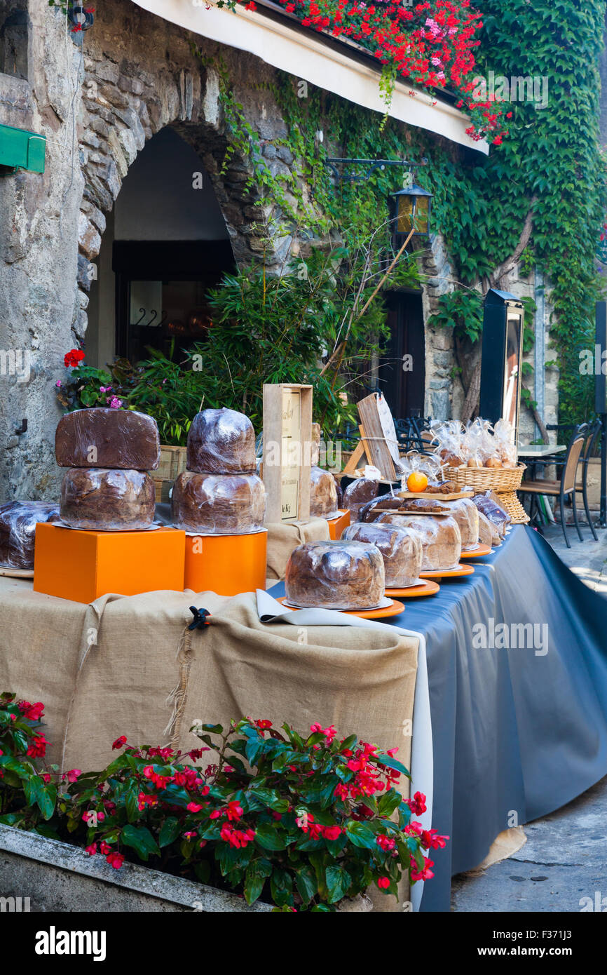 Spiced breads for sale at 29 Euros per kilo in the streets of Yvoire, France - Stock Image