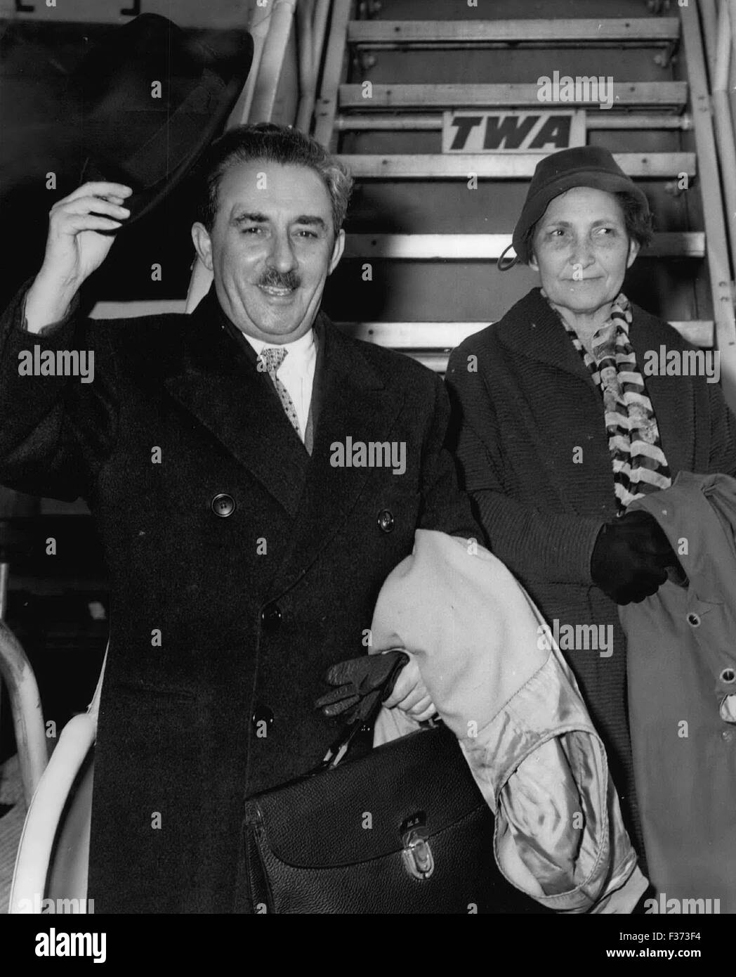 Dec. 29, 1978 - IOLEWILD AIRPORT, N.Y.--- Israel Foreign Minister Moshe Sharett and his wife arrived on Trans World - Stock Image