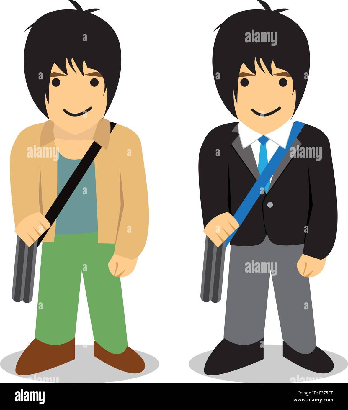 Twin man, Freelance vs office man, vector - Stock Vector
