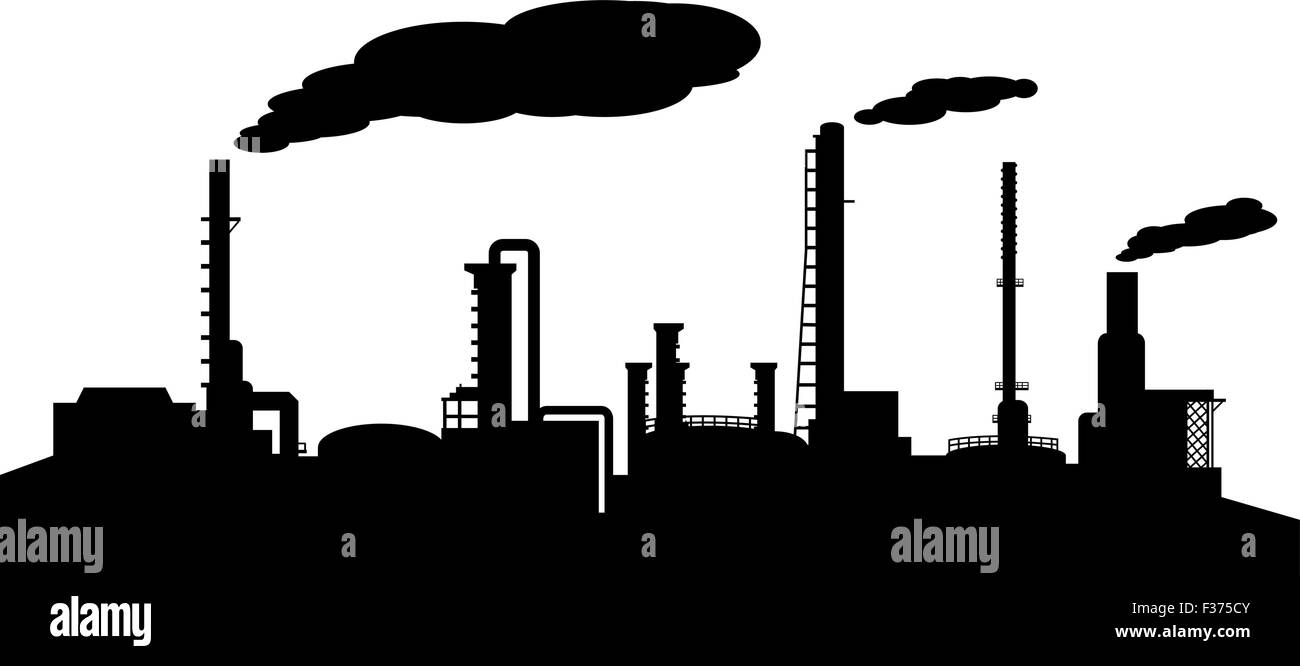Oil refinery industry silhouette vector - Stock Image