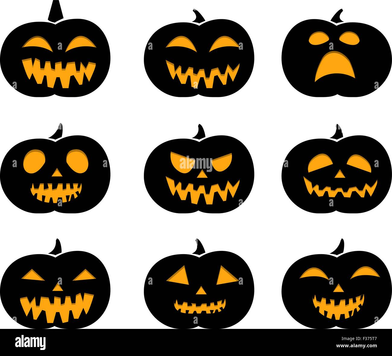 Set of black silhouette pumpkins - Stock Vector
