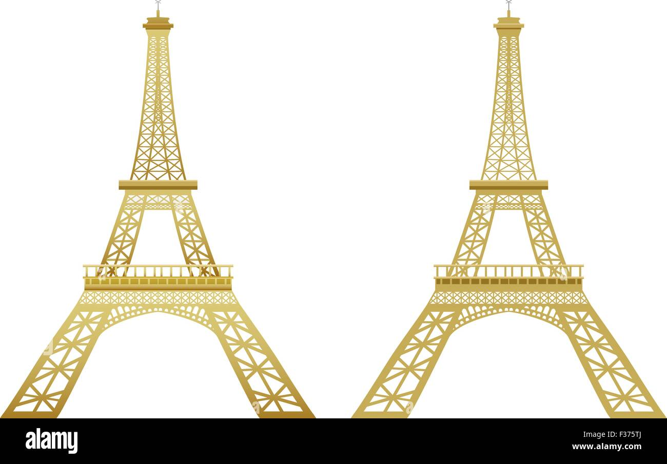 Golden Eiffel Tower in effect and flat style - Stock Vector
