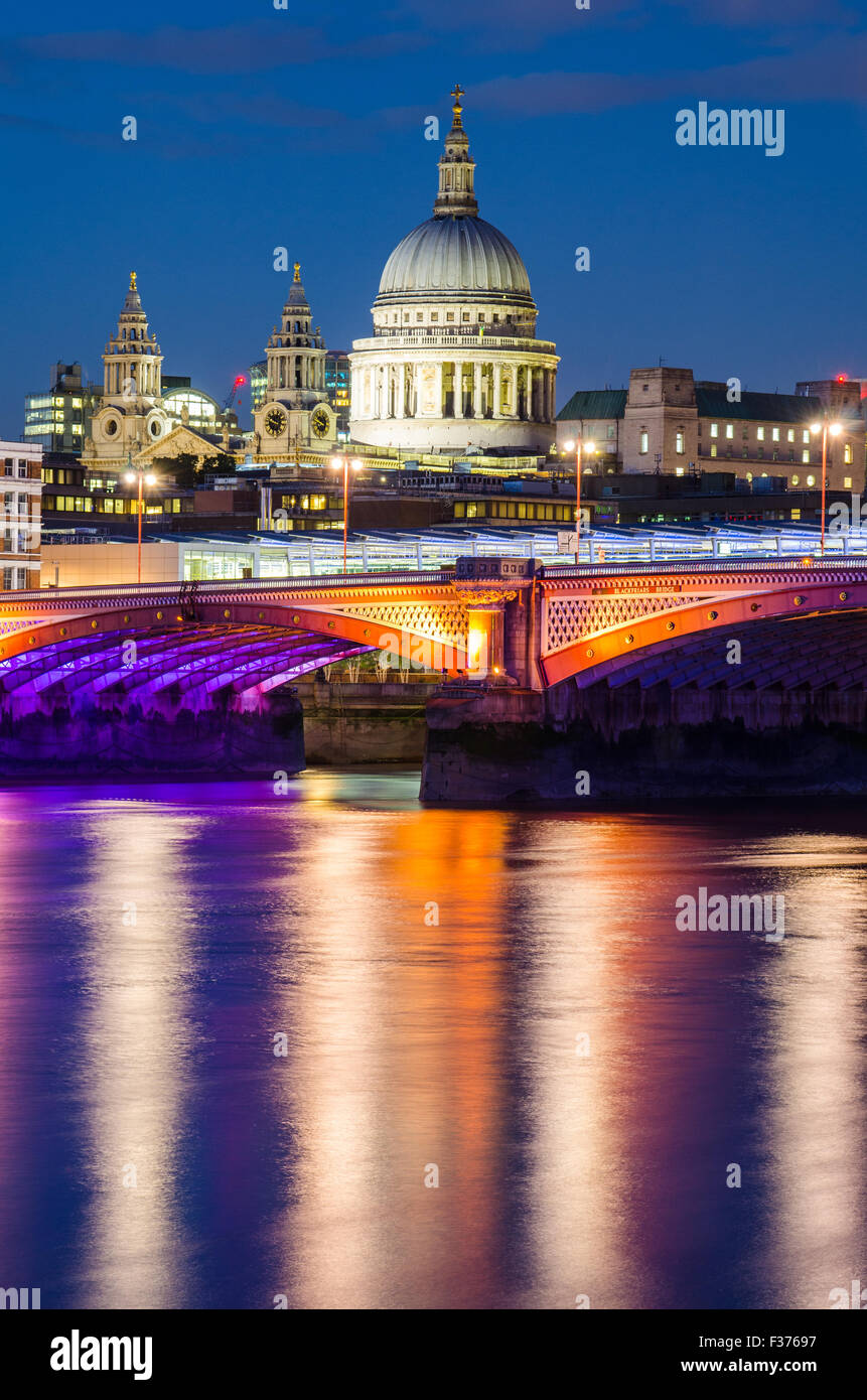 St Paul's Cathedral and Blackfriars Bridge in London - Stock Image