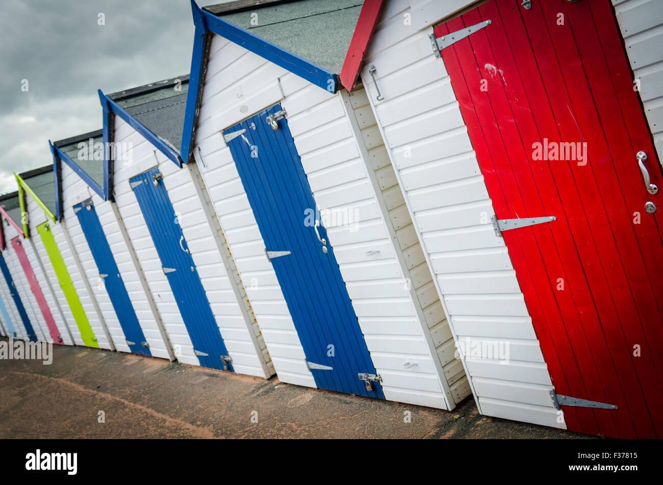 Beach Huts on Paignton Seafront - Stock Image