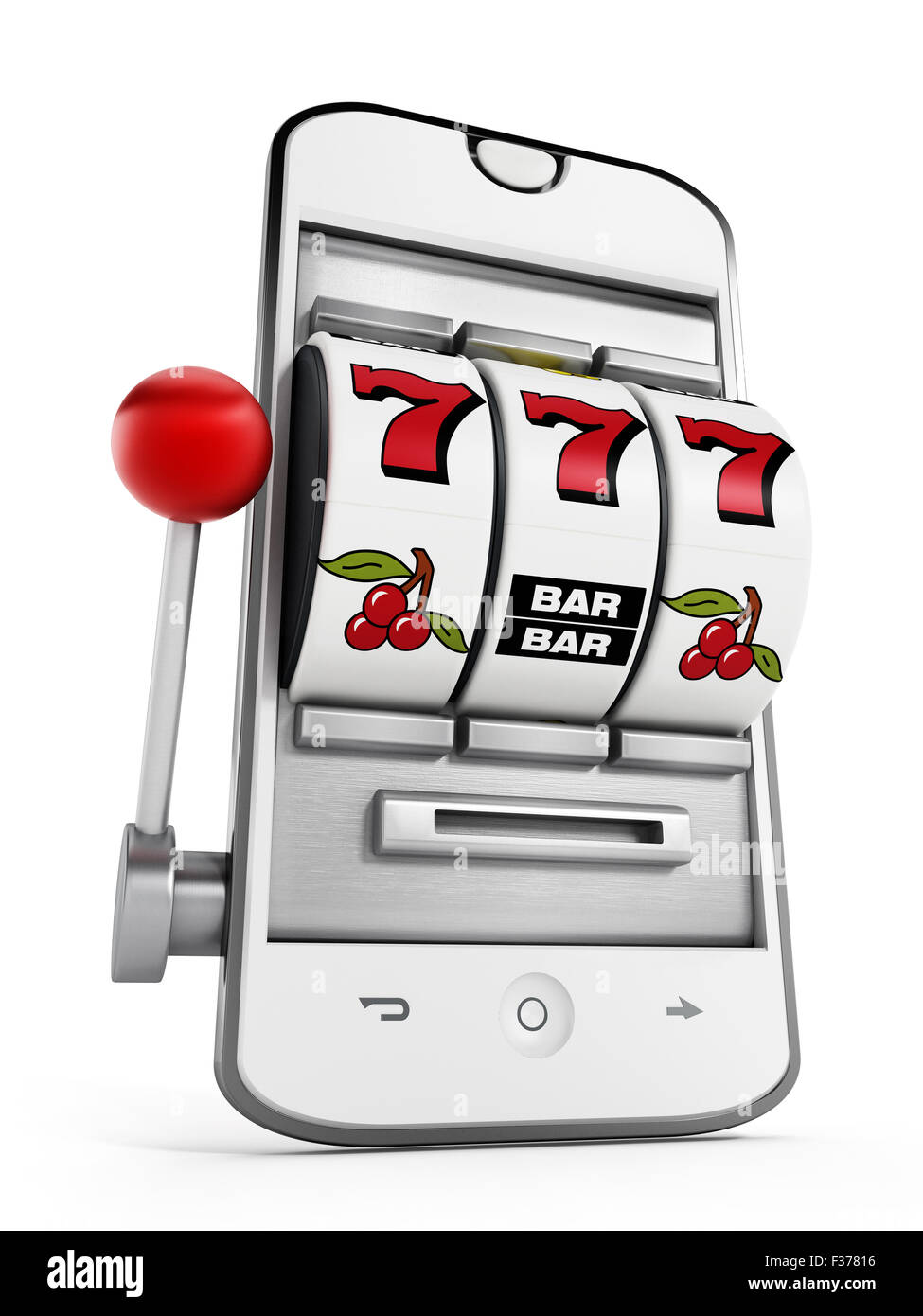 Gambling machine pointing jackpot on smartphone screen. - Stock Image
