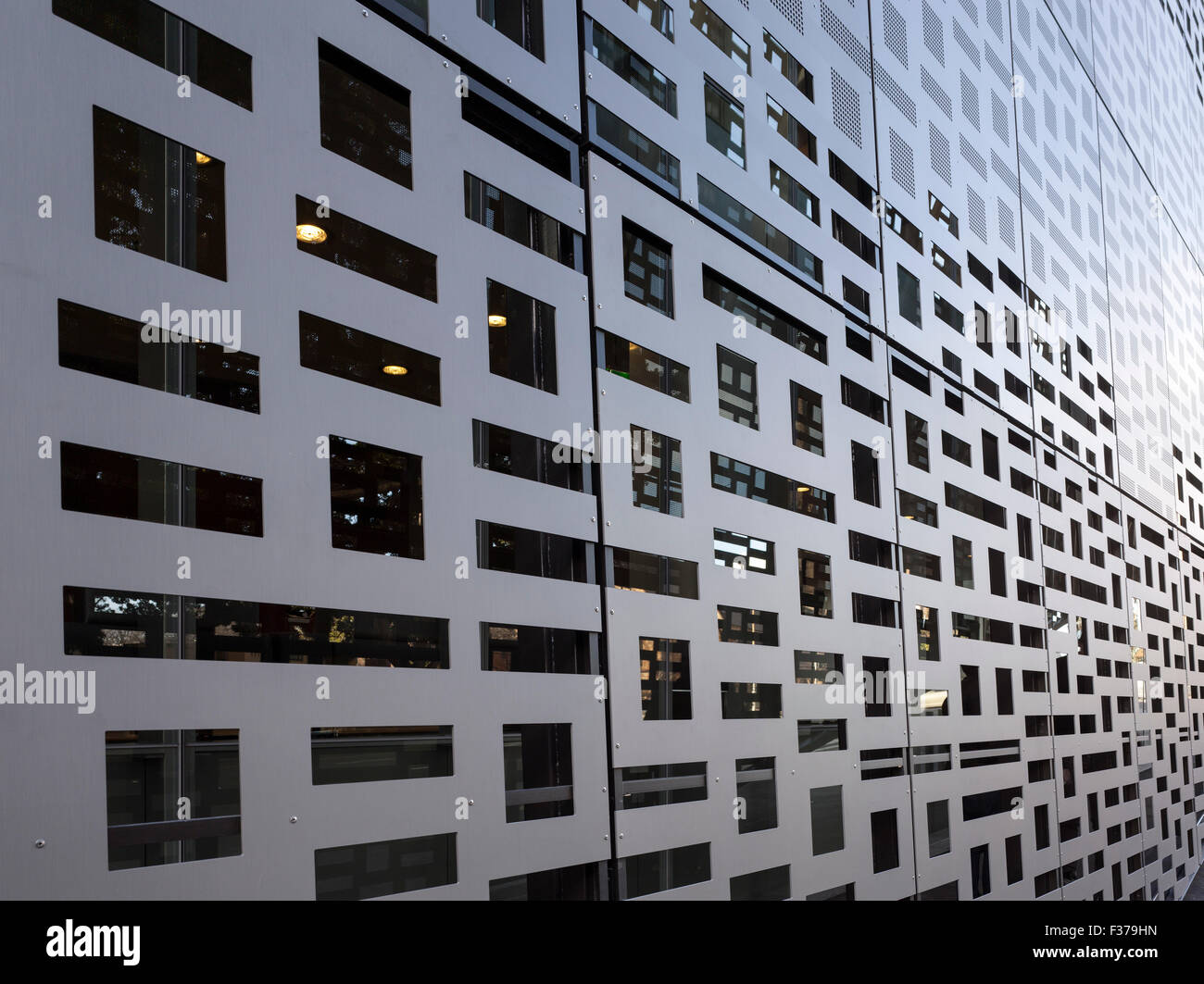 Detail of perforated screen. Faculty of Engineering + Information Technology, University of Technology Sydney, Sydney, - Stock Image
