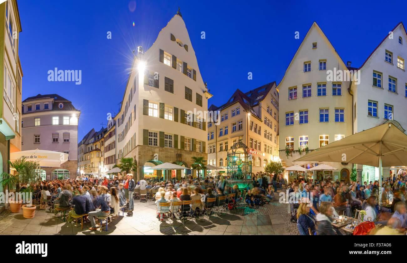 Crowd of people at public viewing, FIFA World Cup 2014, near Hans-im-Glück-Brunnen, historic centre, Stuttgart - Stock Image