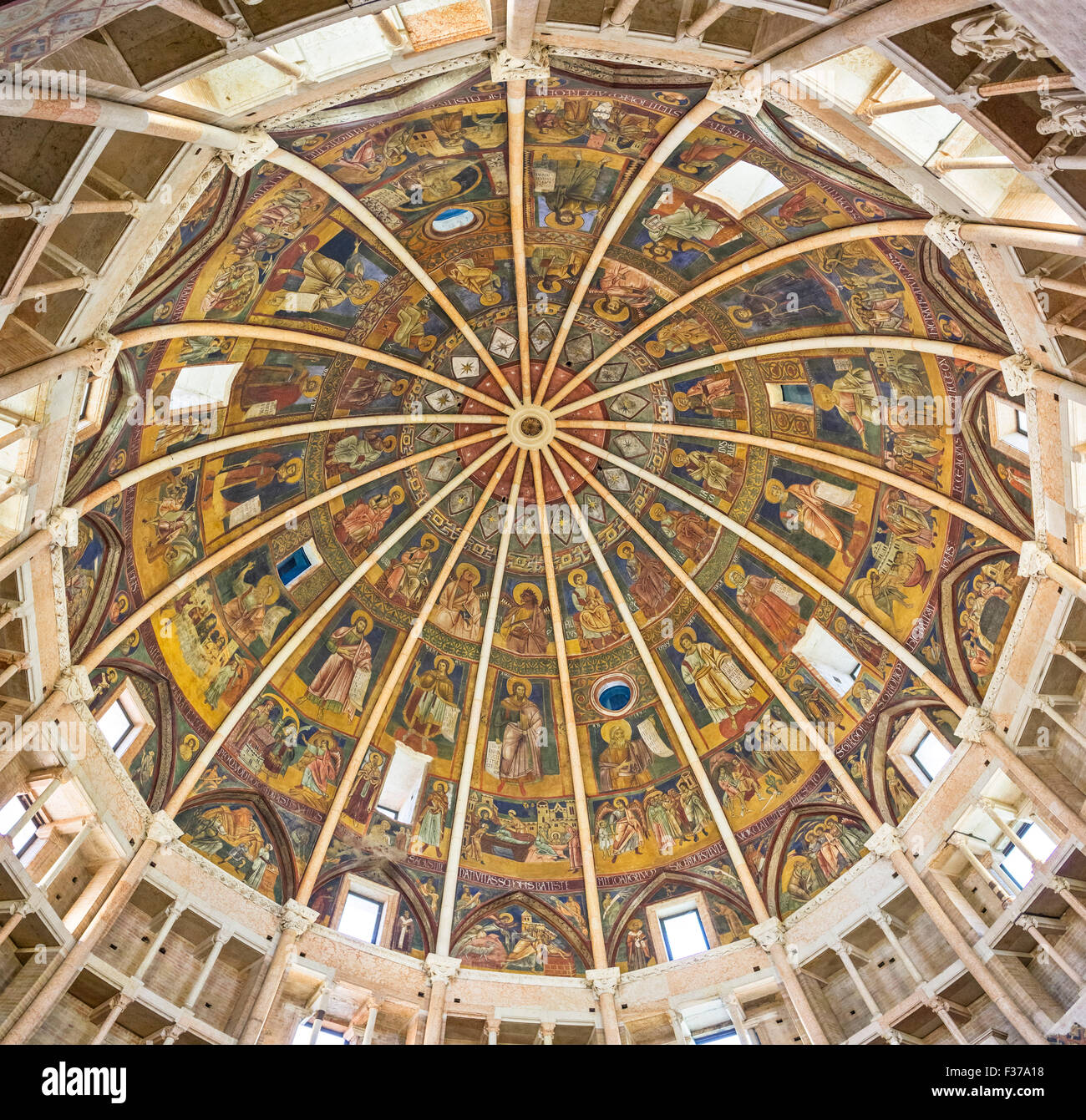 Baptistery interior, Parma, Emilia-Romagna, Italy - Stock Image
