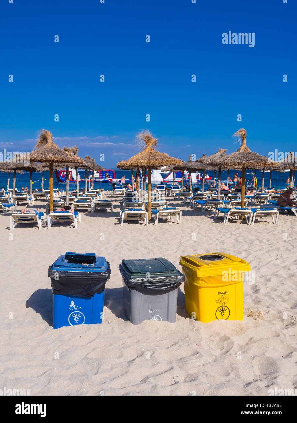 Recycling, trash cans on the beach, Magaluf, Majorca, Balearic Islands, Spain - Stock Image