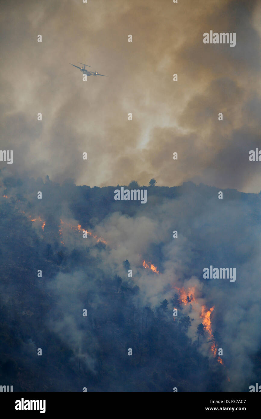 Fire extinction with firefighting aircraft Dash 8 Q400 MR, French Sécurité Civile, large-scale forest - Stock Image