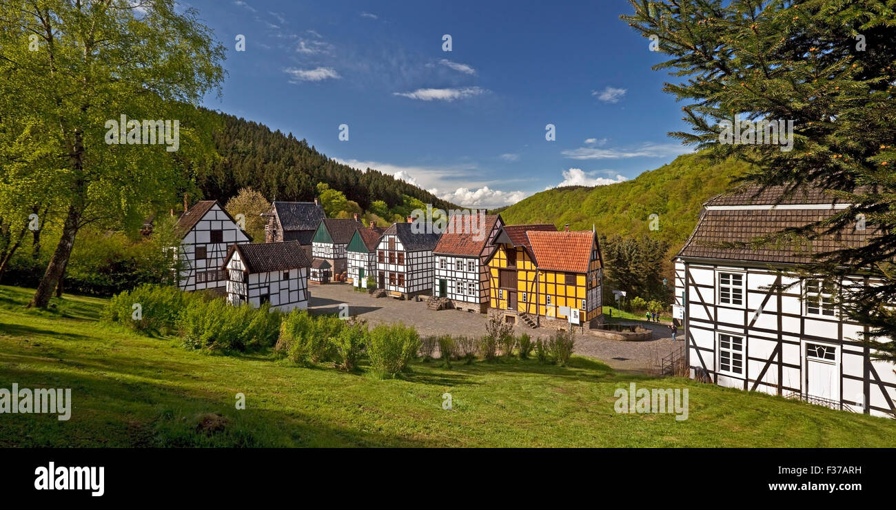 Half-timbered houses in the Open Air Museum, Hagen, Ruhr district, North Rhine-Westphalia, Germany Stock Photo