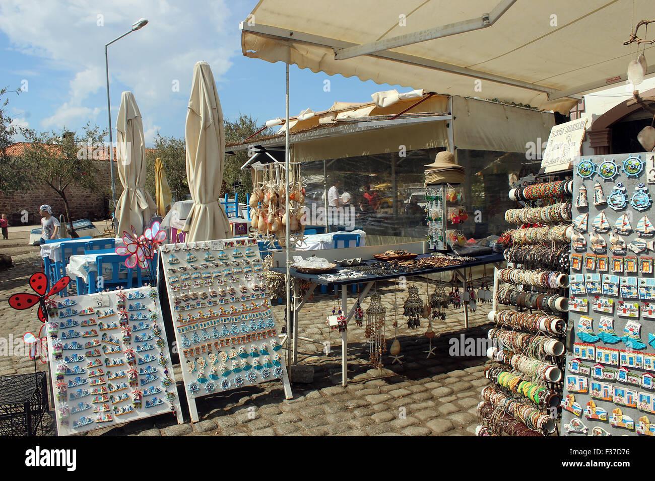Cunda Island, Balikesir, Turkey - September 24, 2015: Souvenirs for sale displayed at gift shop, Turkey - Stock Image