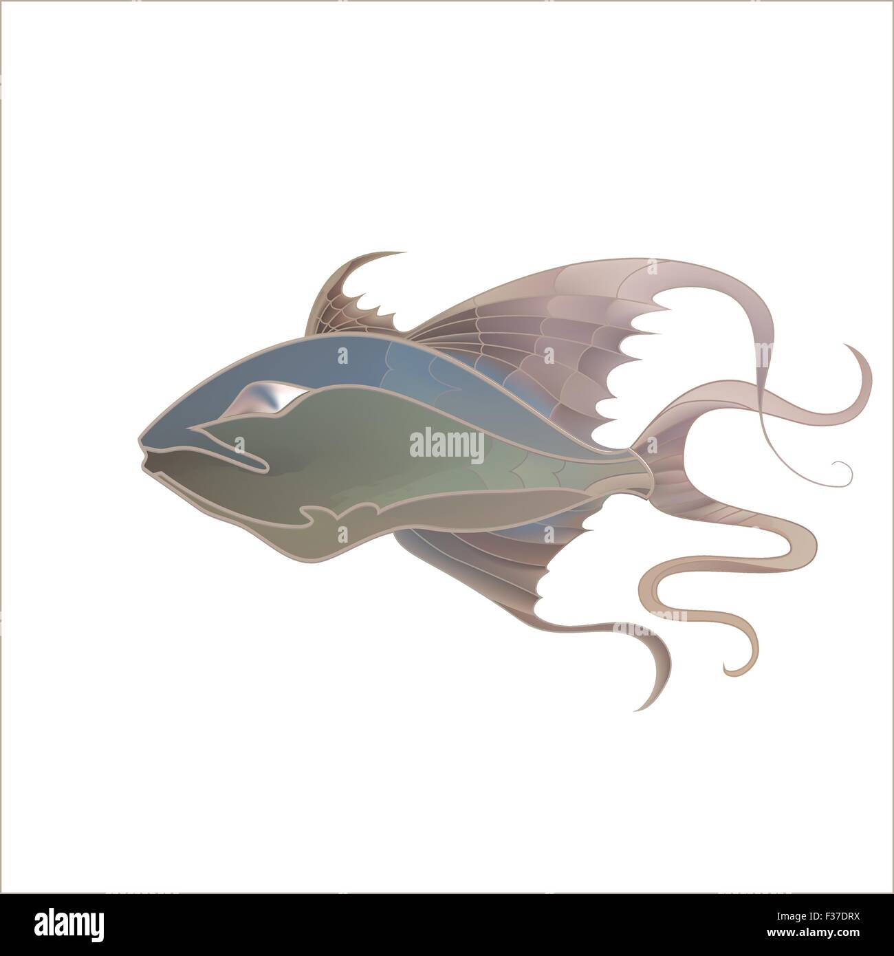 Fabulous illustration of fantastic fish delicate purple shades Stock Vector