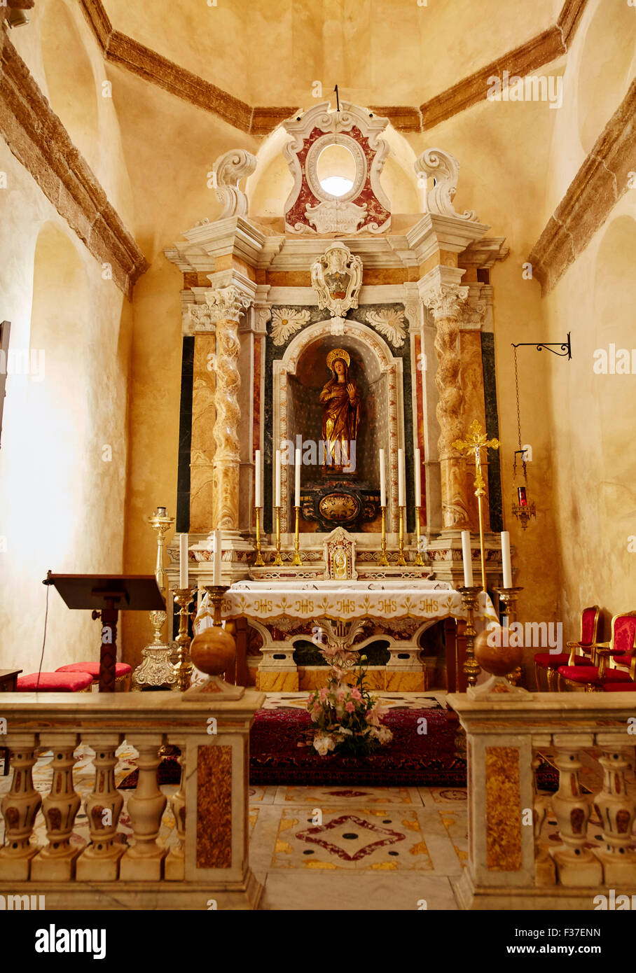 Alter of Cathedral of St. Mary Alghero, Sardinia - Stock Image