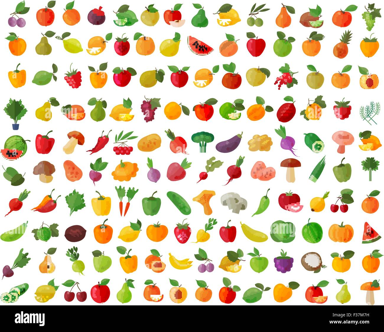 fruit and vegetables color icons set - Stock Vector