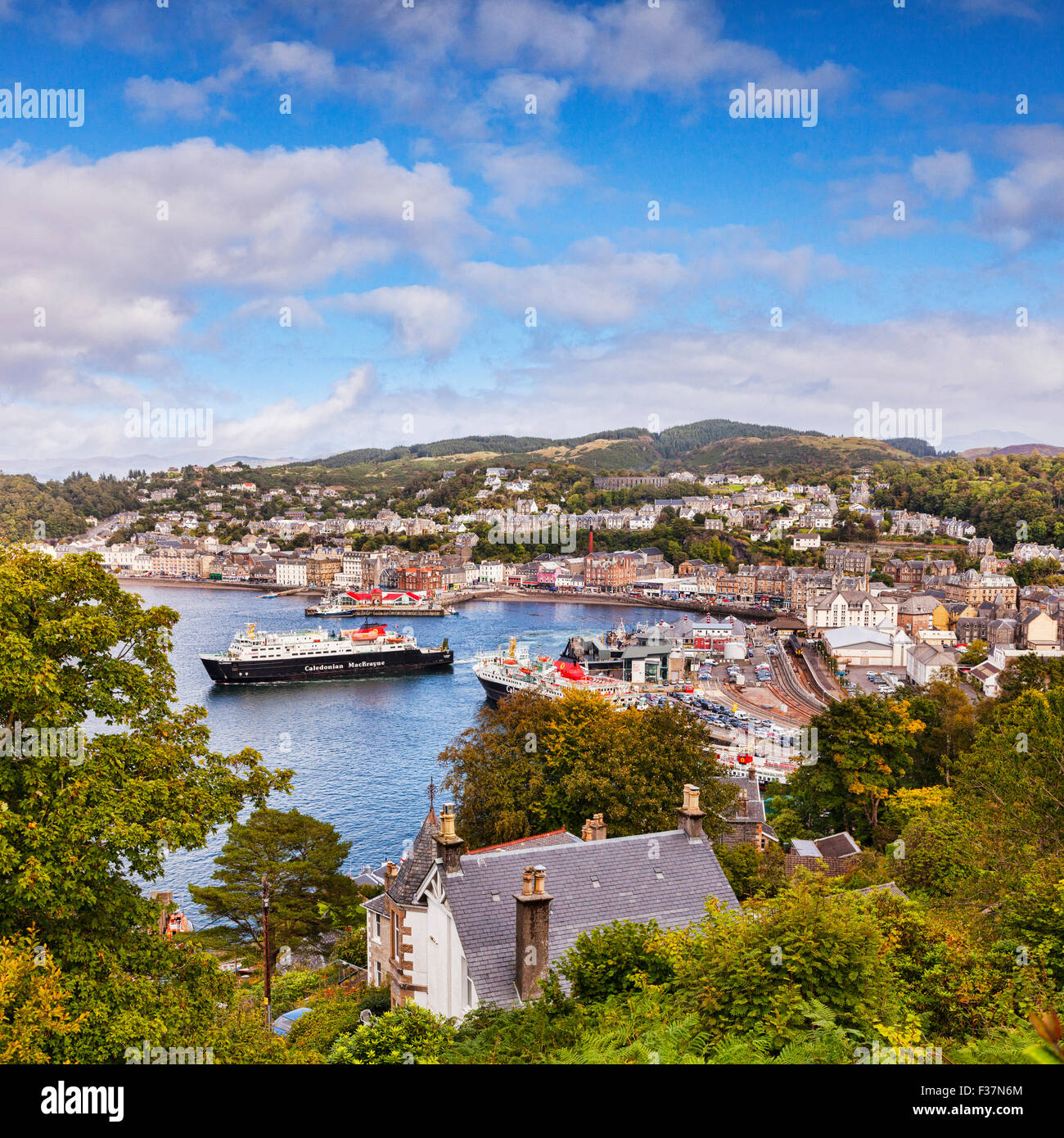 CalMac ferry Clansman leaves Oban harbour, Oban, Argyll and Bute, Scotland, UK. - Stock Image