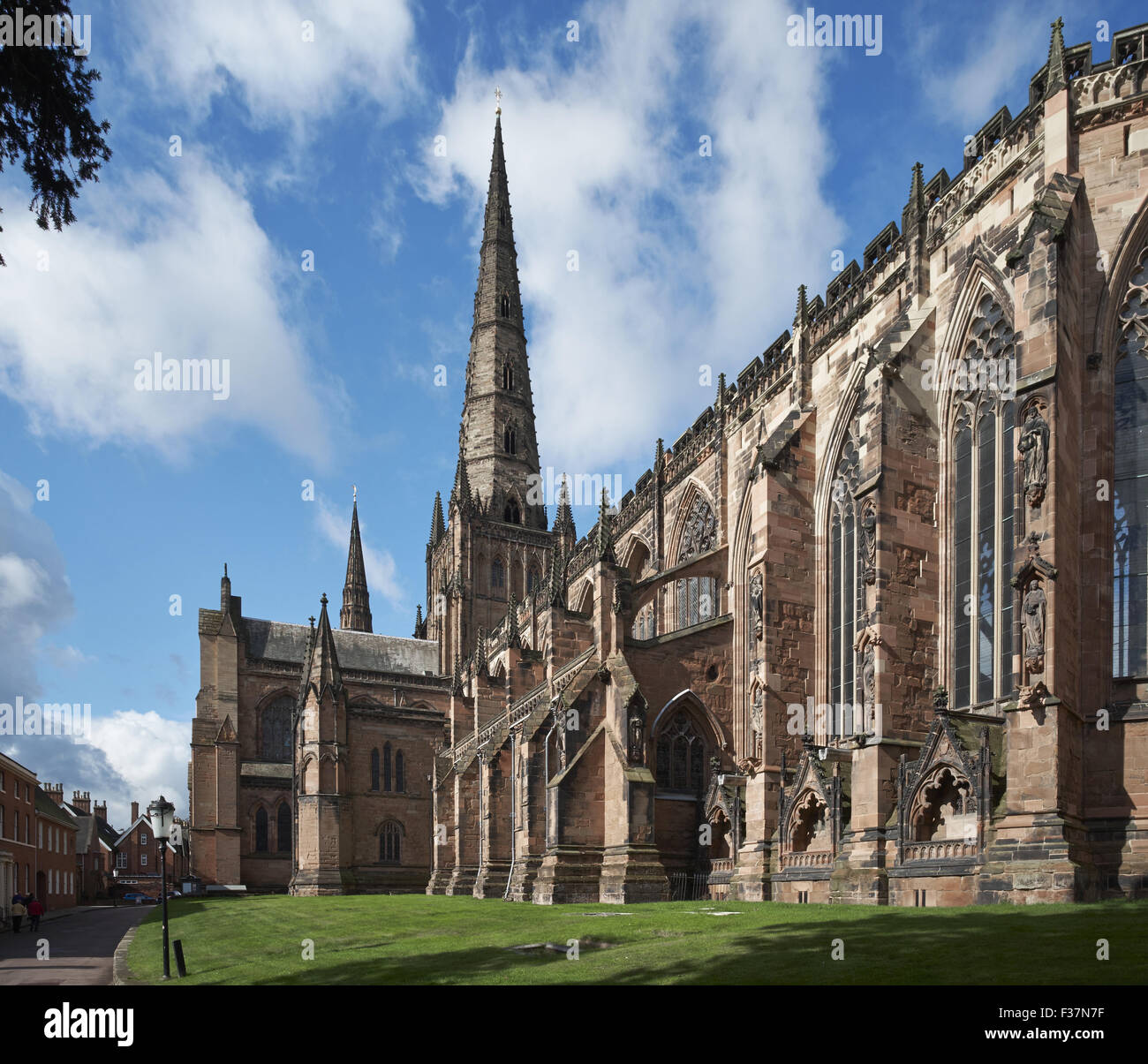 Lichfield Cathedral east end and spire - Stock Image