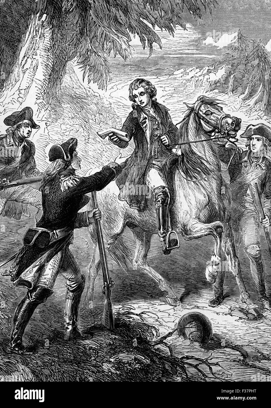 The arrest on the 23 September, 1780, of Major John André, a British Army officer hanged as a spy during the - Stock Image