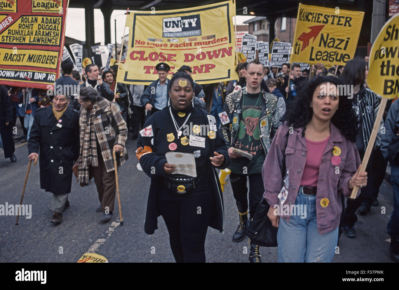 Anti racism march in London 1990's - Stock Image