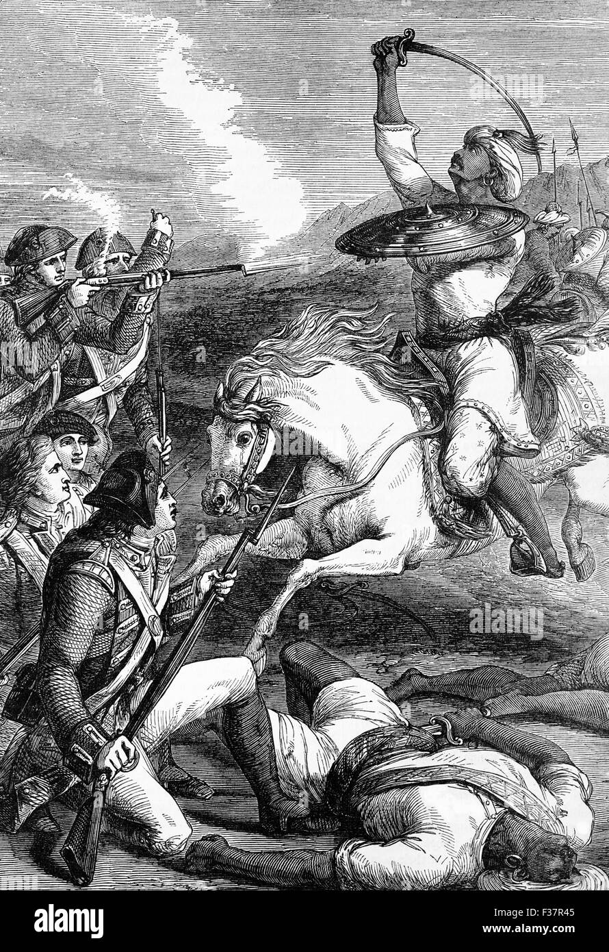 The death of the Rohilla Chief in 1781. The Rohilla are a community of Urdu-speaking Pashtun Afghans also known - Stock Image