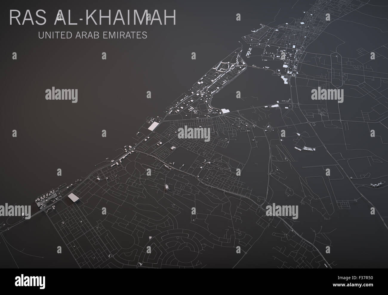 map of ras al khaimah in the uae satellite view map in 3d black and white