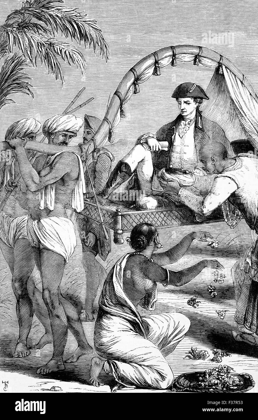 Raja Chette Sing paying homage to Warren Hastings, the first Governor-General of India, from 1773 to 1785. - Stock Image