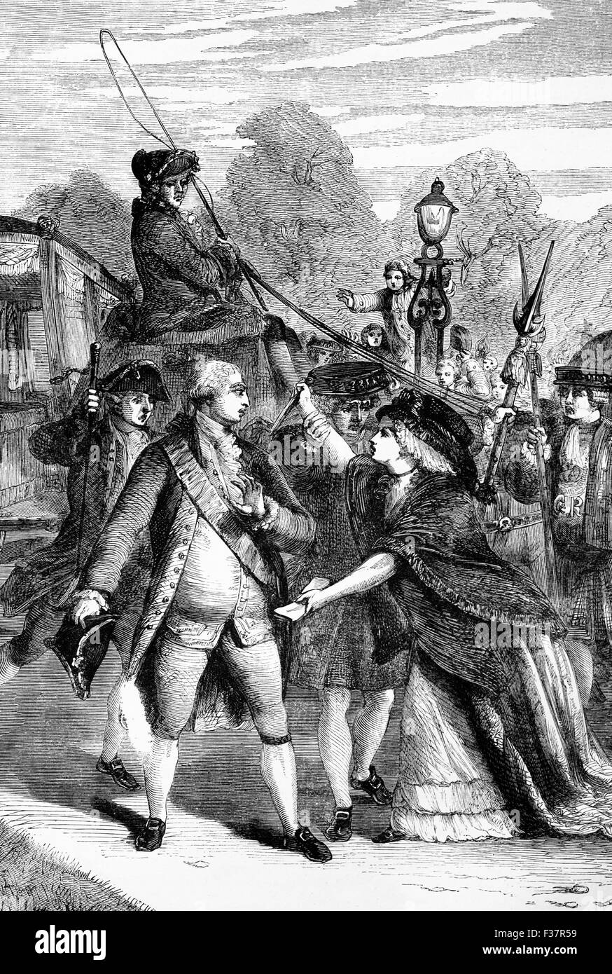 The attempted assassination in 1786 of King George III by  Mrs Margaret Nicholson, who was insane; the King survived. Stock Photo