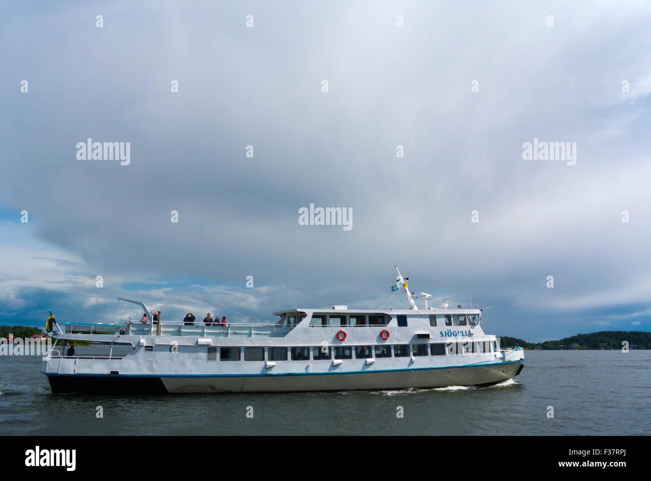 Passenger boat, Stockholm's archipelago, at Vaxholm, near Stockholm, Sweden - Stock Image