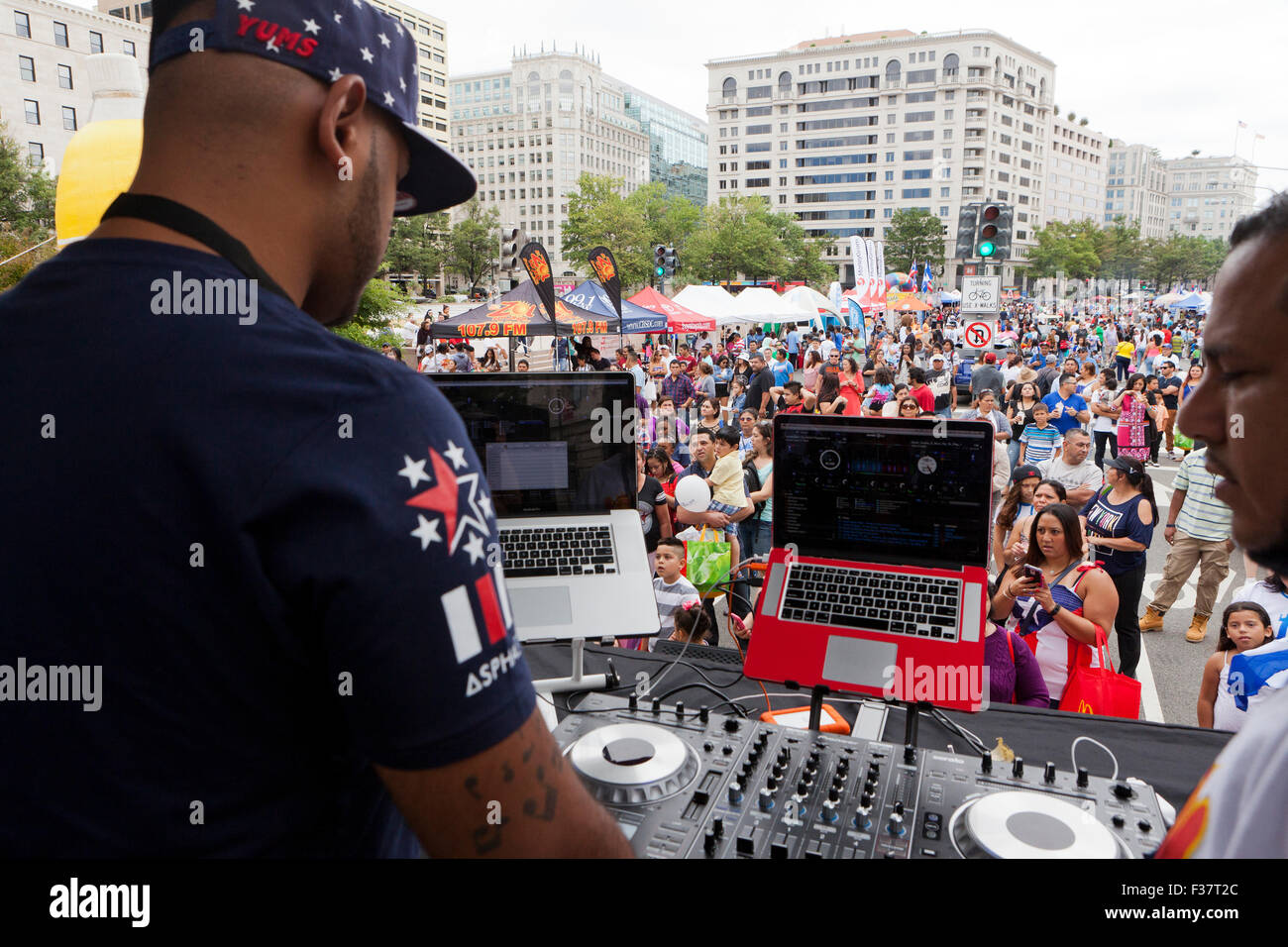 Mix DJ on stage at an outdoor concert - USA Stock Photo