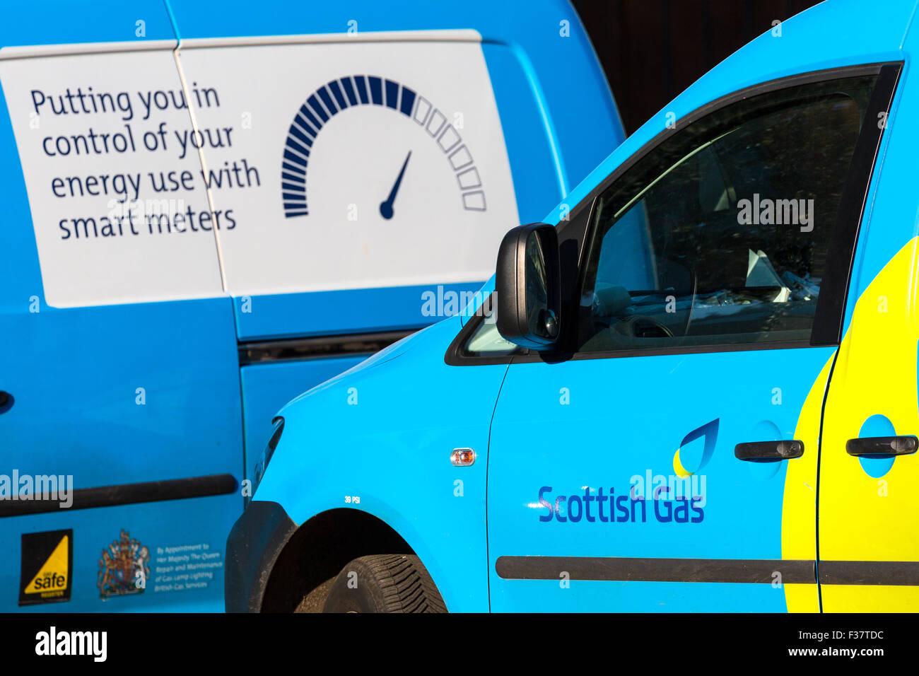 Scottish Gas vans. Engineers visiting Scottish Customers Scotland UK - Stock Image