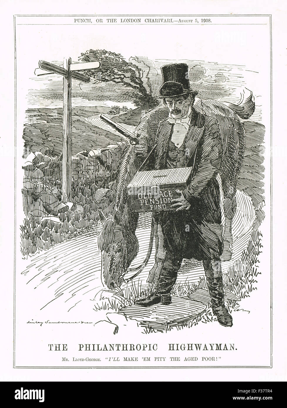The Philanthropic Highwayman Lloyd George Old Age Pensions Act 1908 Stock Photo