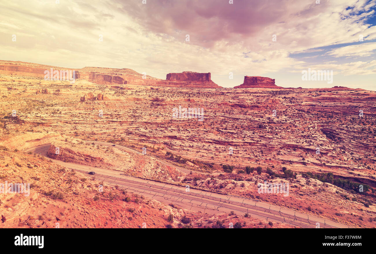 Vintage stylized stormy sky over Canyonlands National Park, Island in the Sky district, Utah, USA. - Stock Image