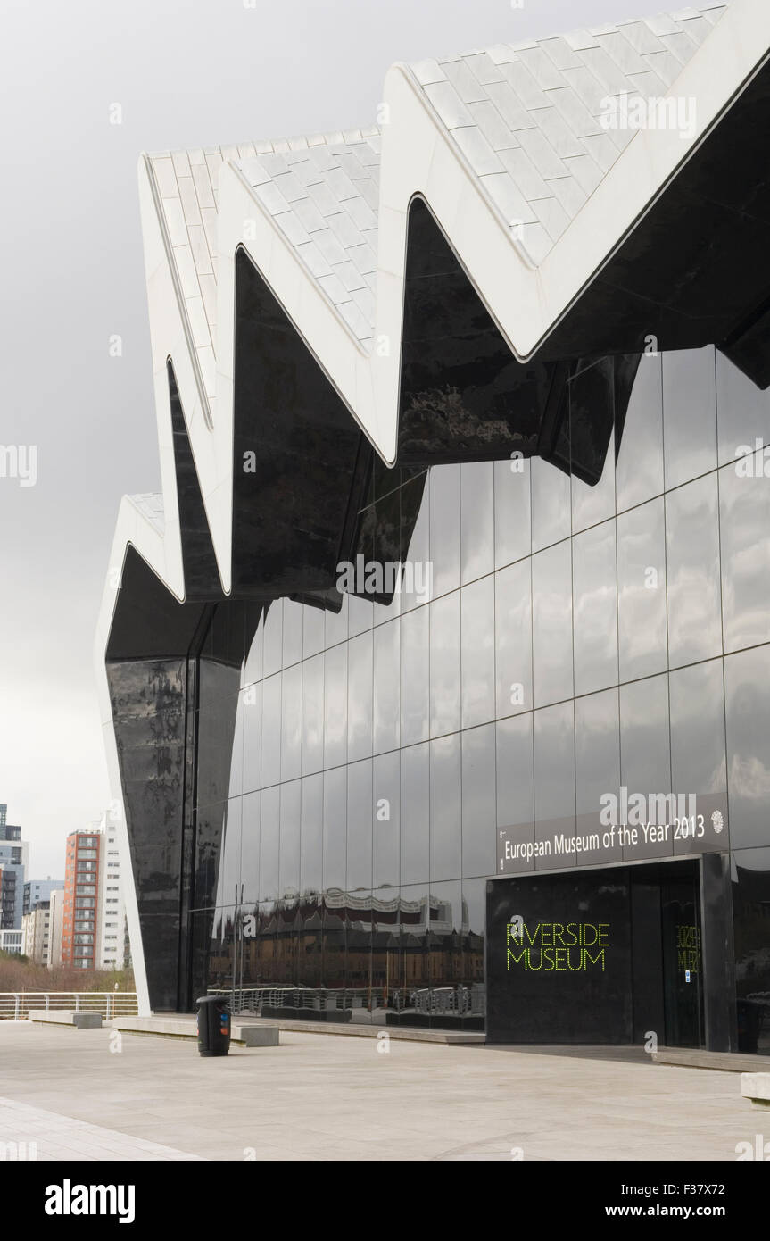 Exterior of Transport Museum at Riverside Museum in Glasgow - Architect Zaha Hadid Stock Photo
