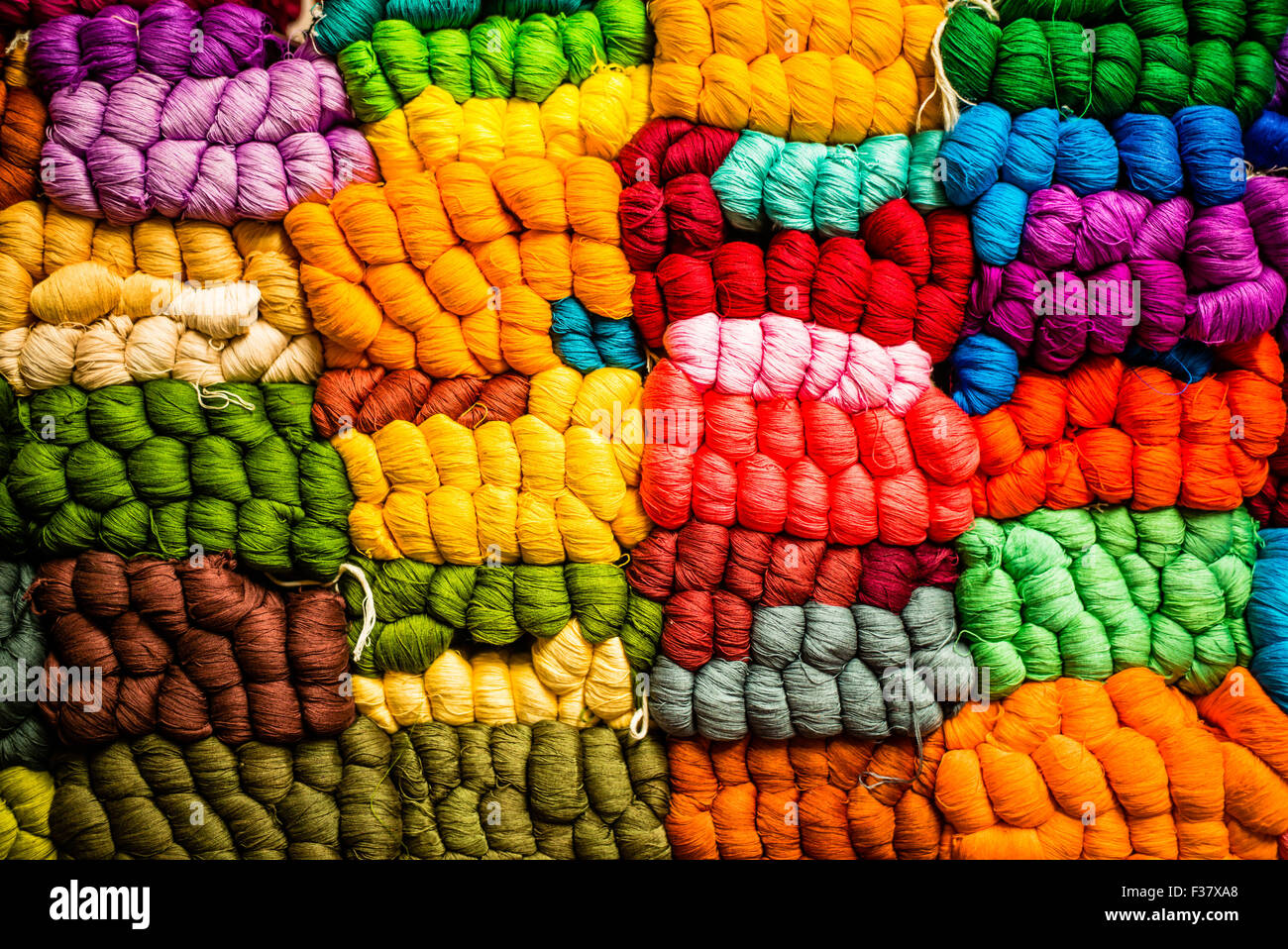 Thread for embroidery and weaving , Guatemala. Stock Photo