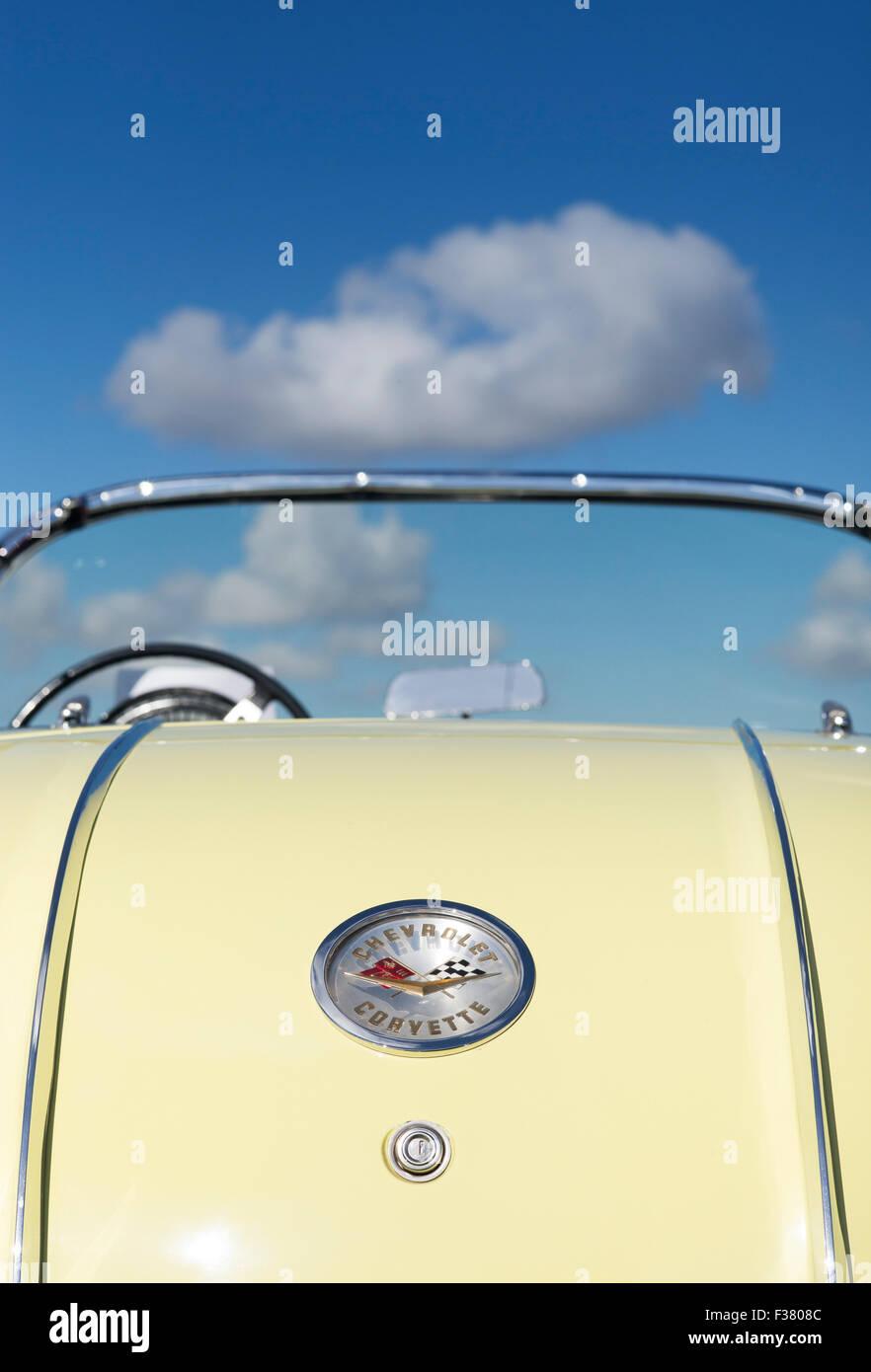 1958 Chevrolet Corvette. Classic American car rear against blue cloudy sky - Stock Image