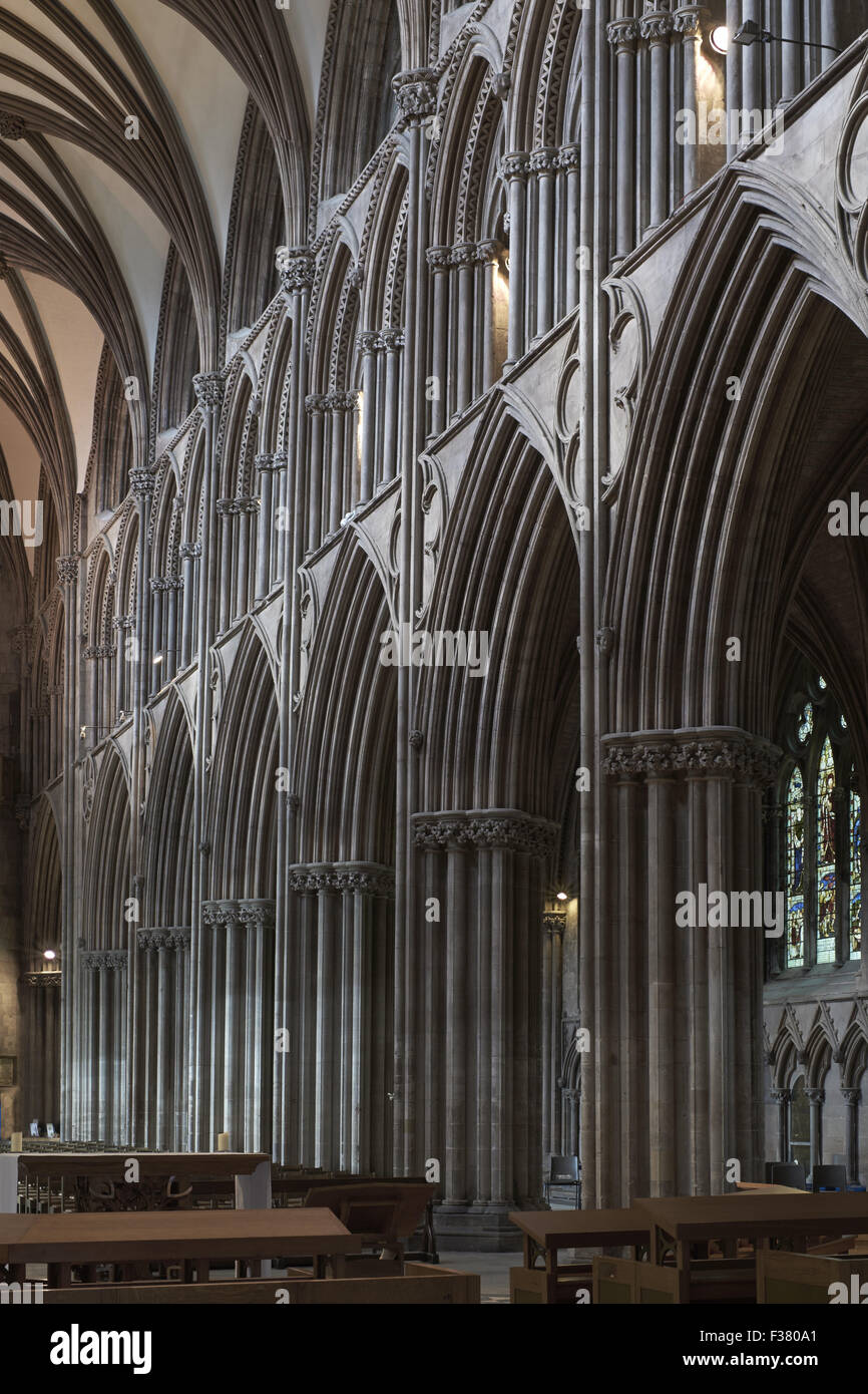 Lichfield Cathedral, nave arcade - Stock Image