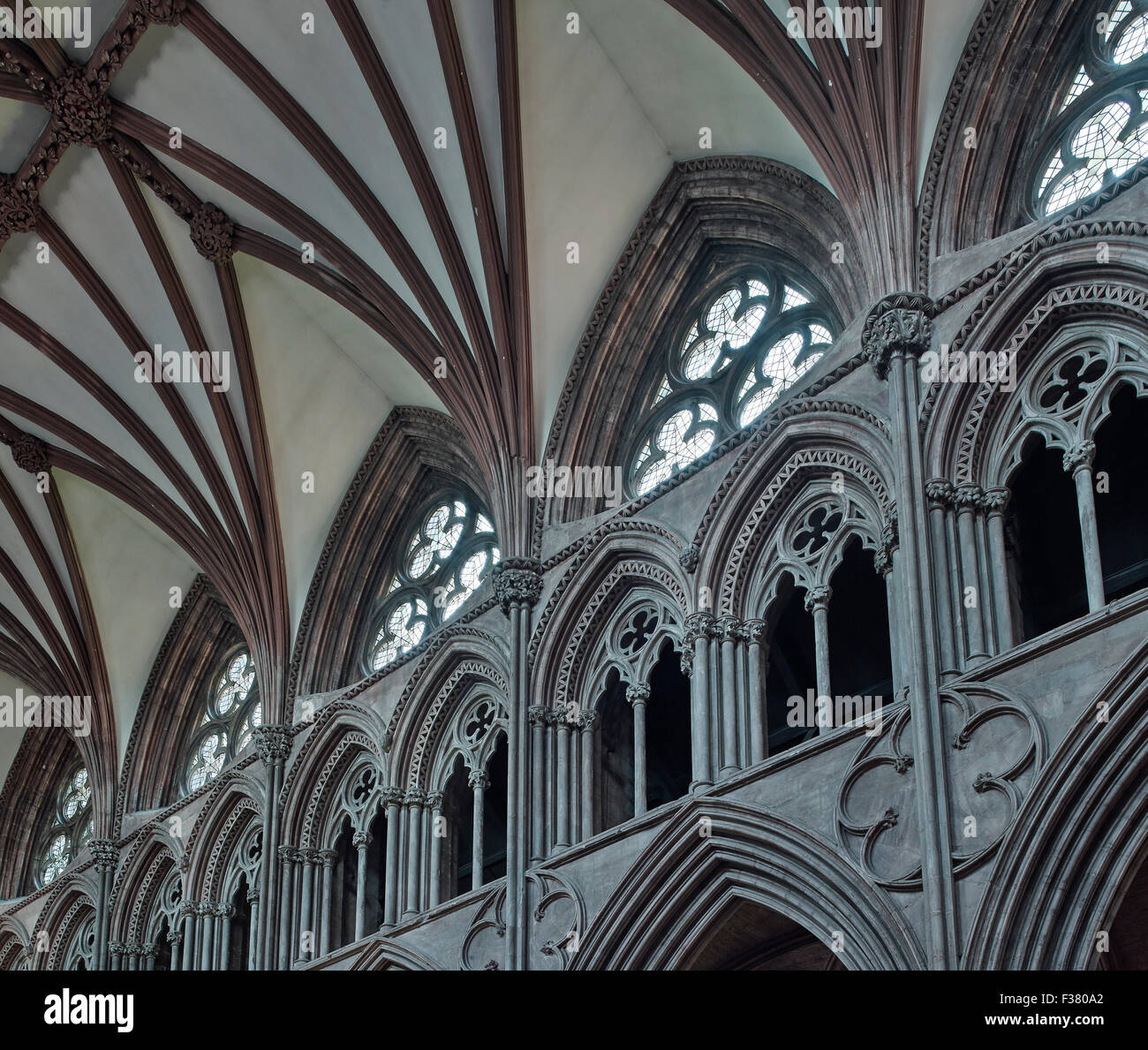 Lichfield Cathedral, nave arcade & clerestory - Stock Image