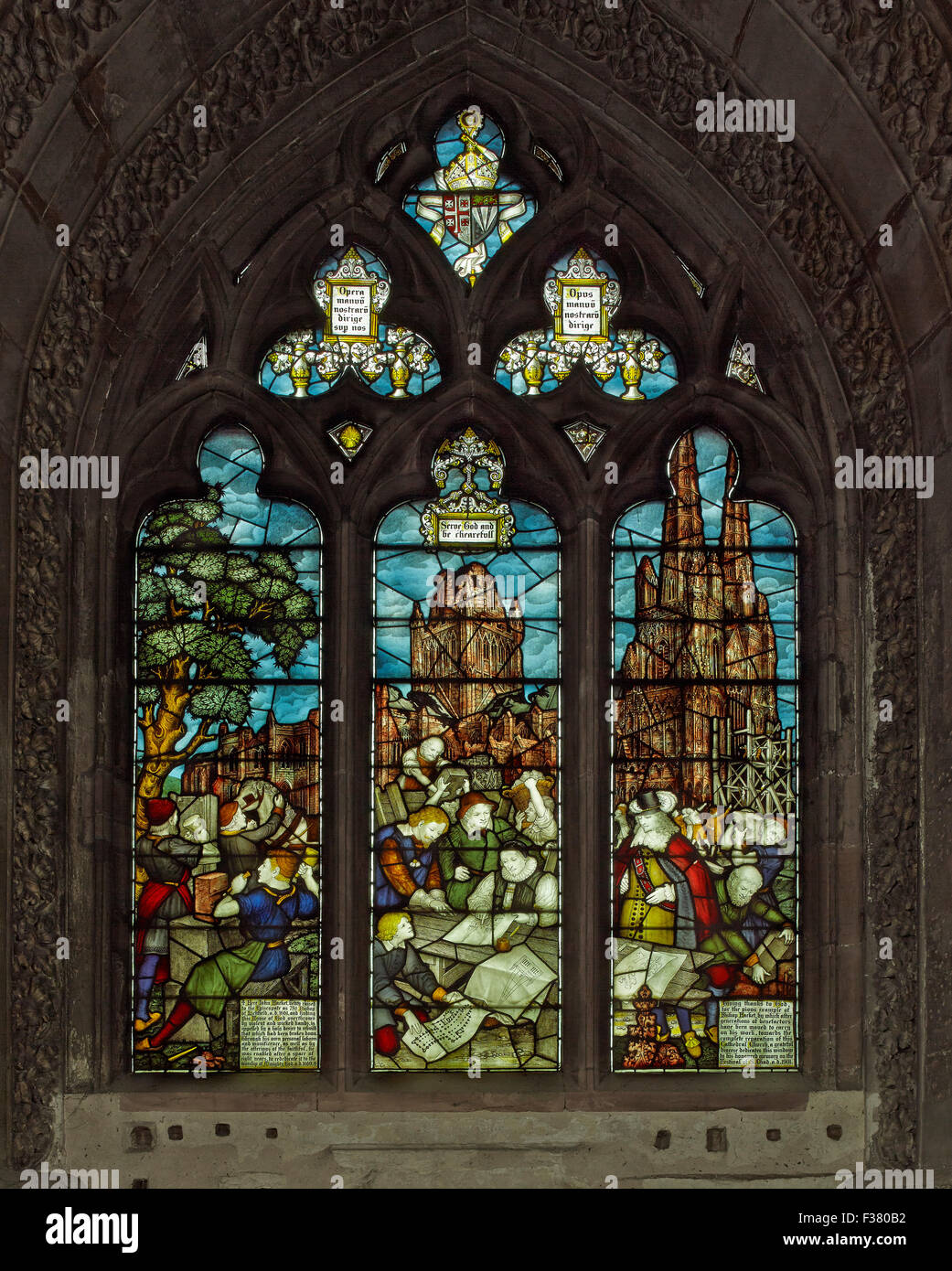 Lichfield Cathedral, south choir aisle window - Stock Image